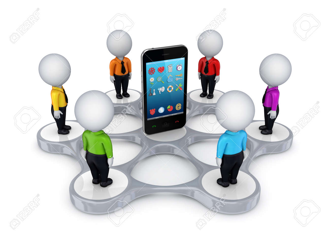 3d small people around mobile phone Stock Photo - 14379983