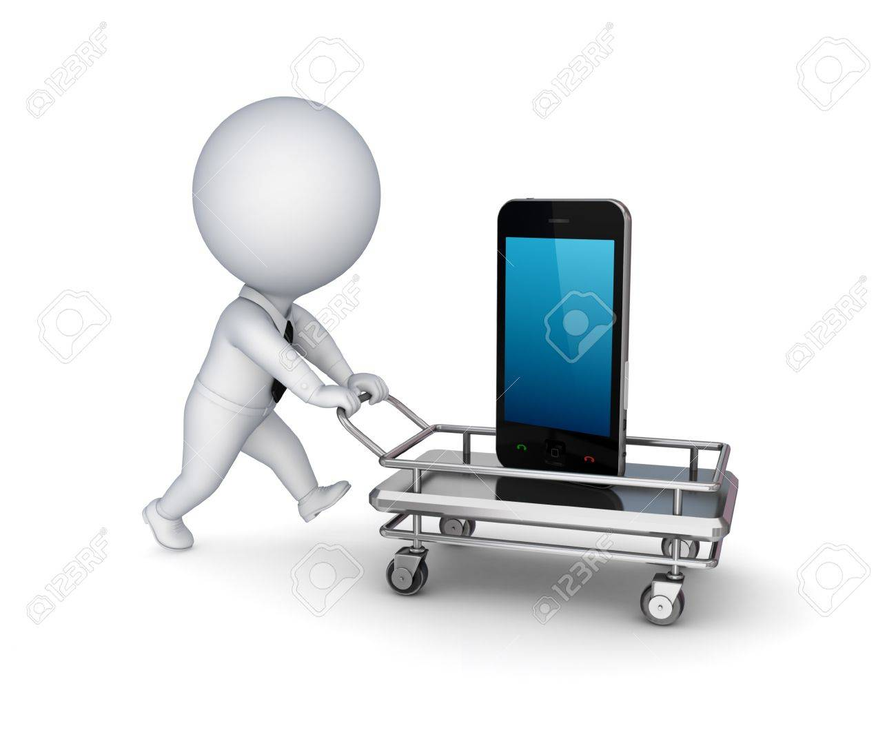 3d person, shopping trolley and mobile phone Stock Photo - 14452098