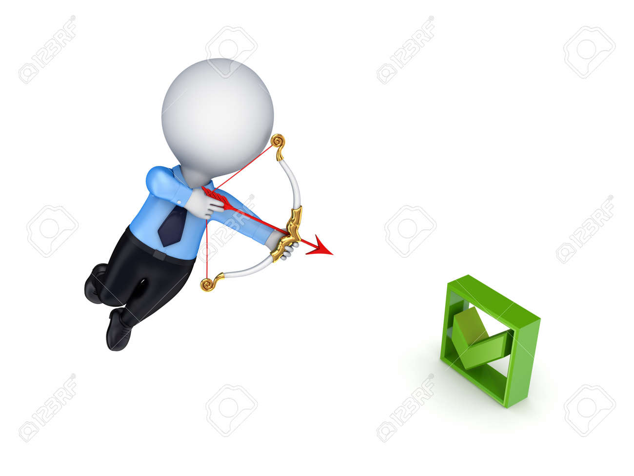3d small person shooting at tick mark Stock Photo - 14450281