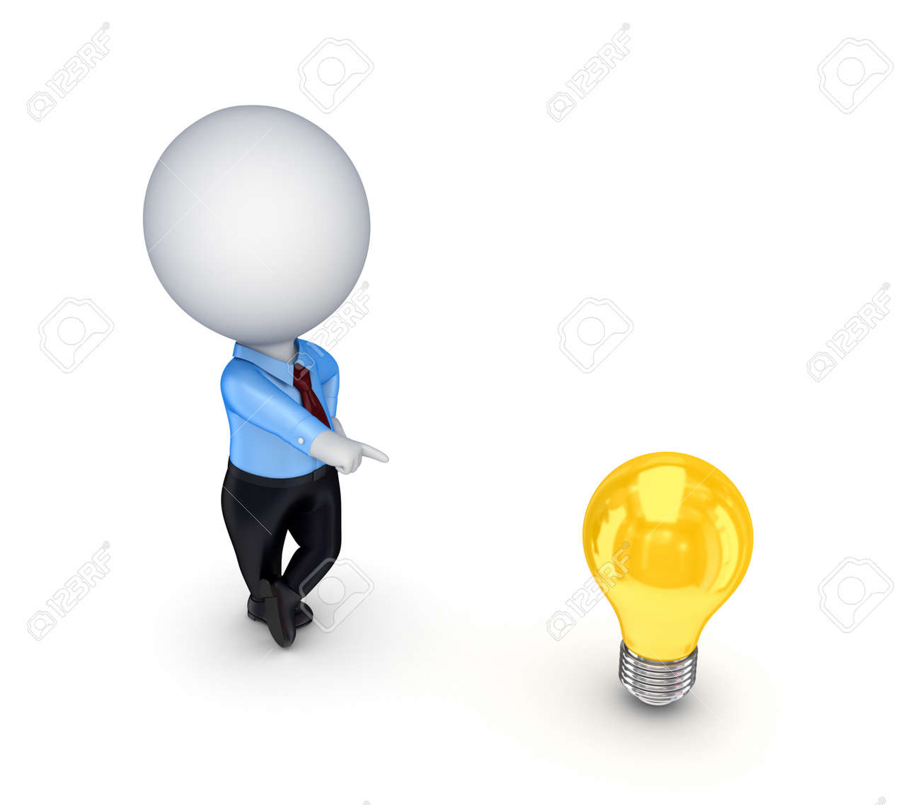 3d small person with an idea symbol Stock Photo - 14452041