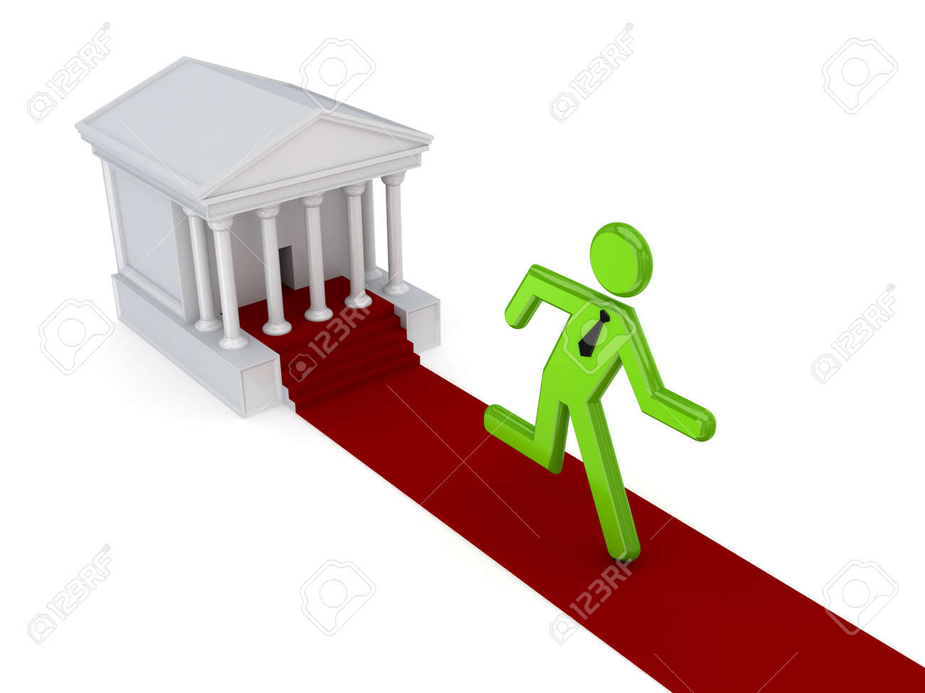 3d small person running from a courthouse Stock Photo - 14451903