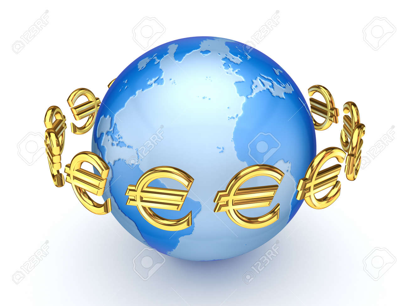 Euro signs around globe Stock Photo - 15535663