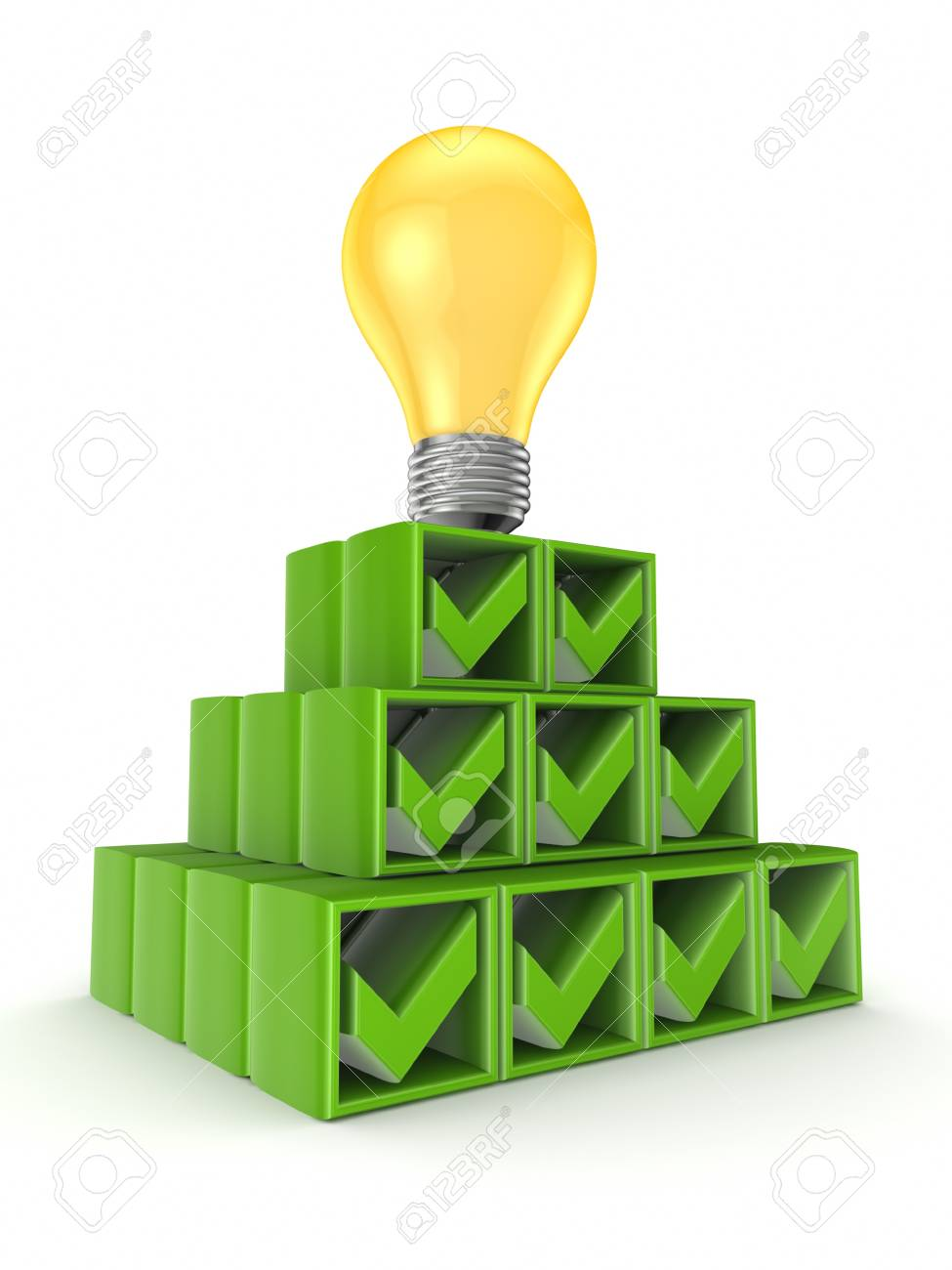 Pyramid made of tick marks and yellow lamp Stock Photo - 15534144