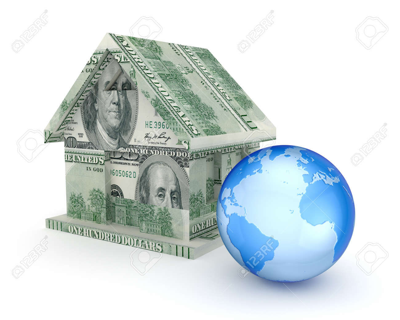 Small house made of money and a globe Stock Photo - 15614548