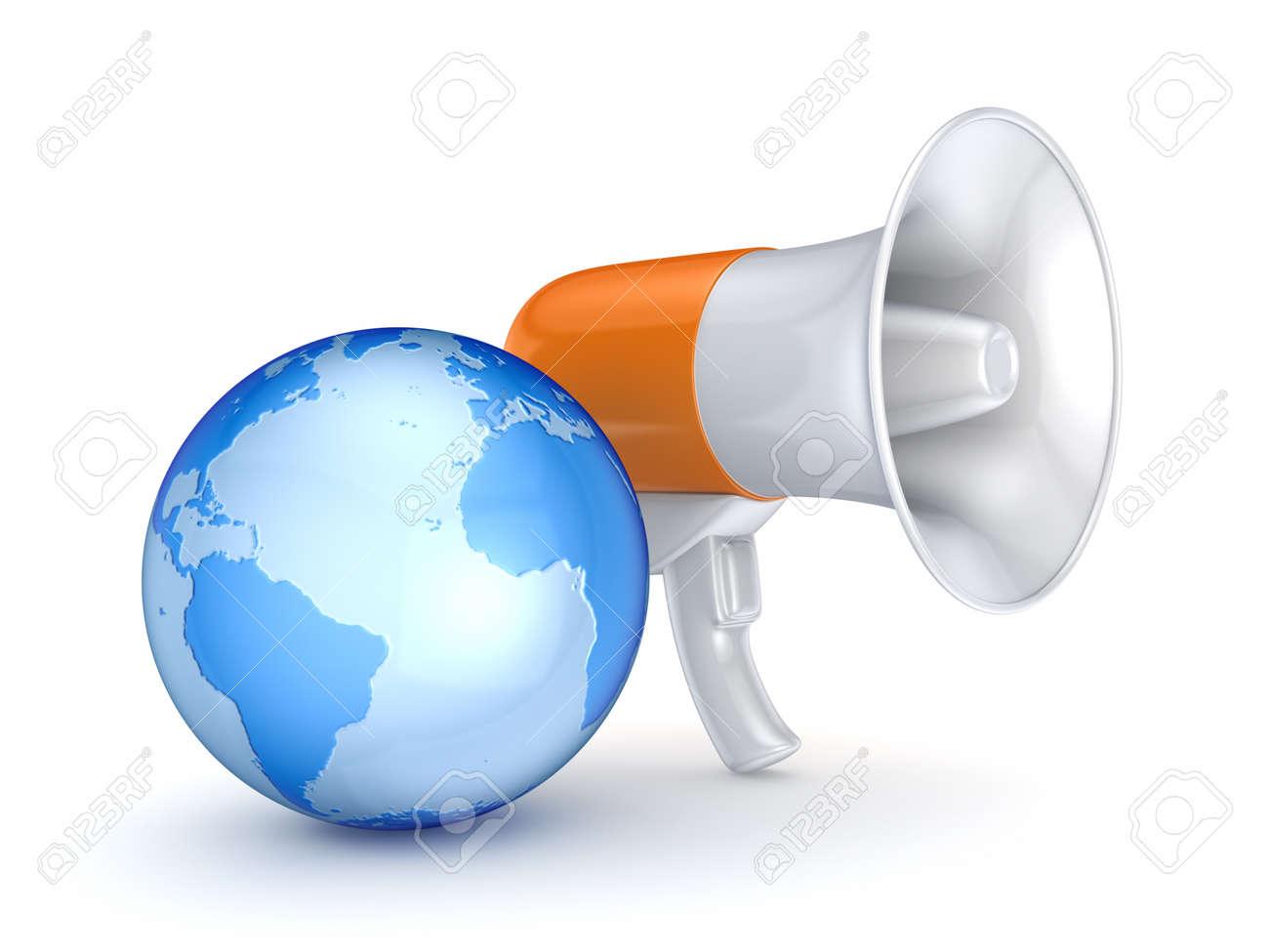 Megaphone and earth Stock Photo - 15648975