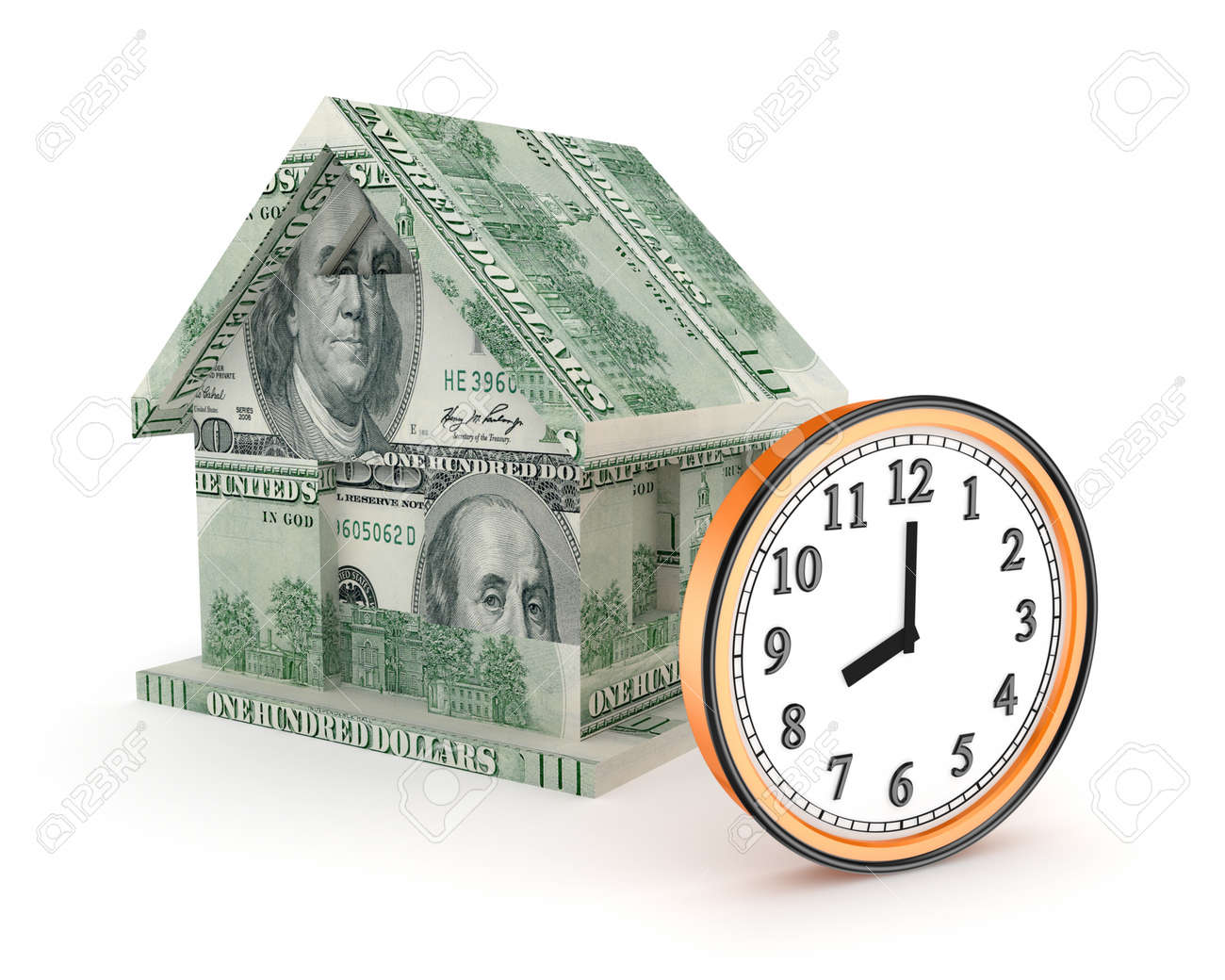 3d small house made of dollars and big watch Stock Photo - 15667798