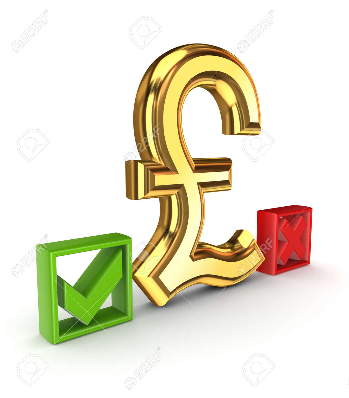 Pound sterling sign between tick and cross marks Stock Photo - 15668596
