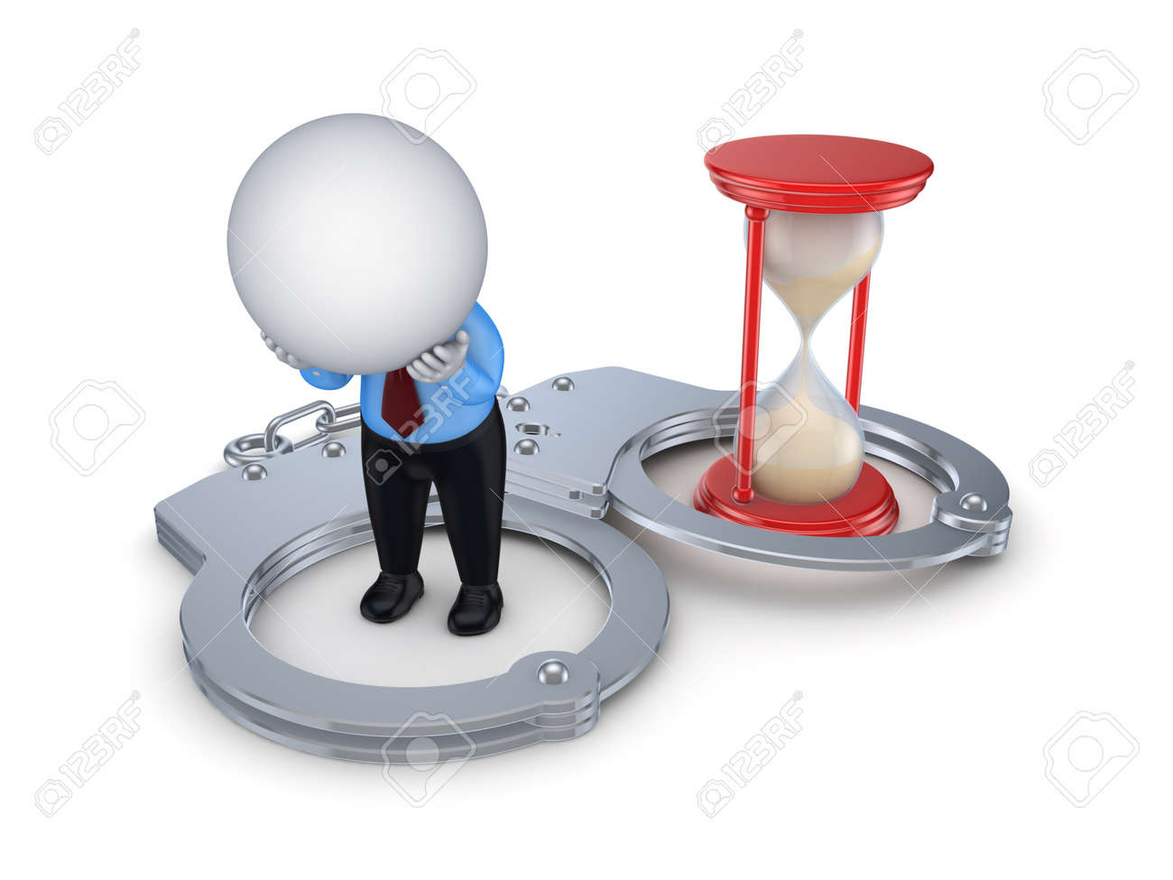 Sad 3d small person, handcuff and red sand glass Stock Photo - 15649216