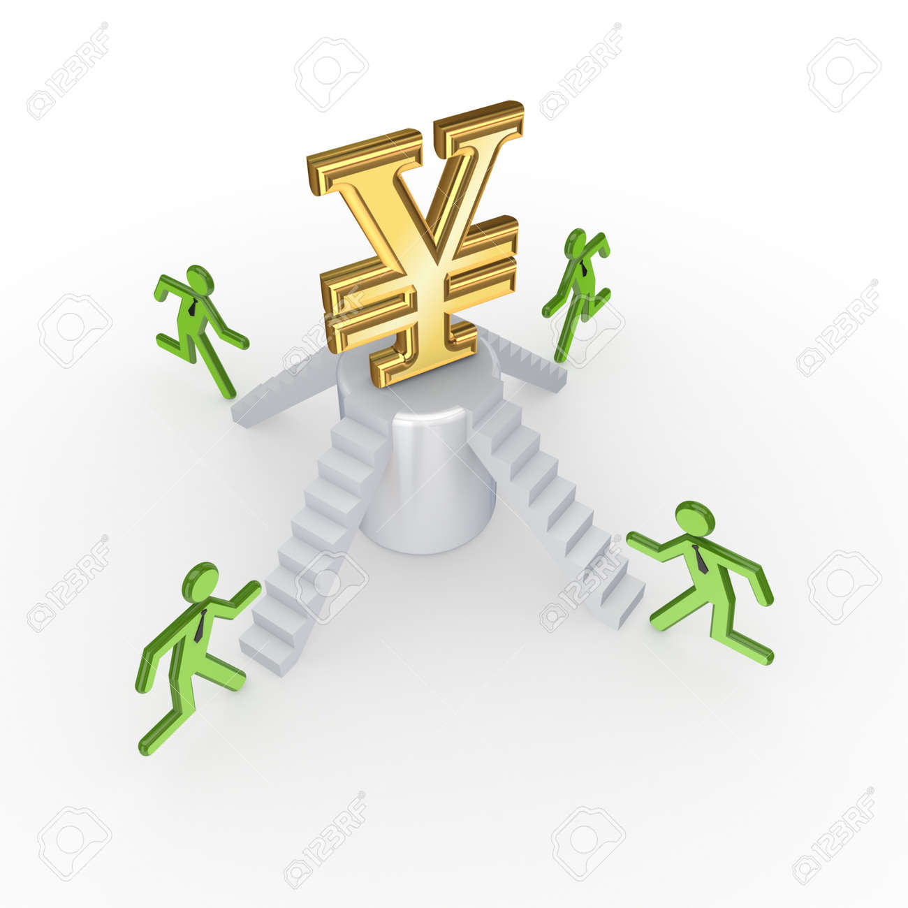 Small people running to a yen symbol Stock Photo - 17535385