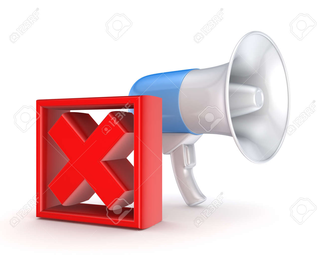 Red cross mark and blue megaphone Stock Photo - 18197213