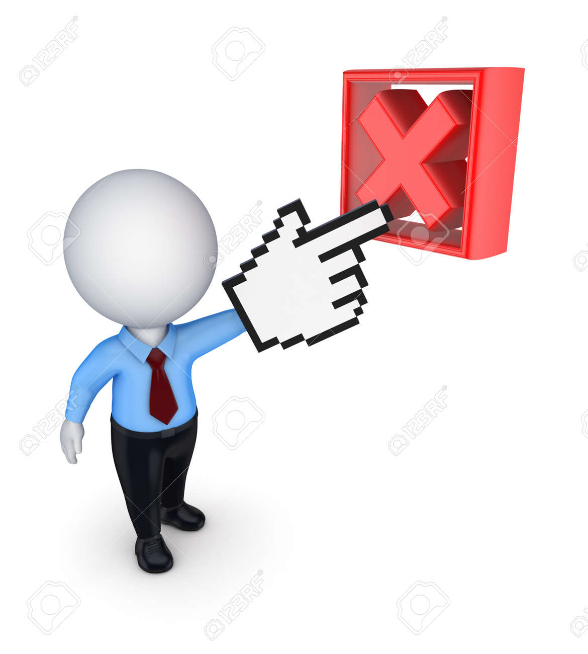 3d small person pointing to cross mark Stock Photo - 18441660