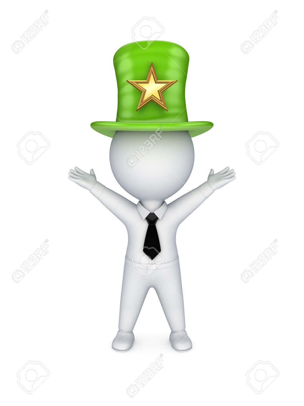 3d Small Person In Top Hat With Star Symbol Stock Photo Picture And
