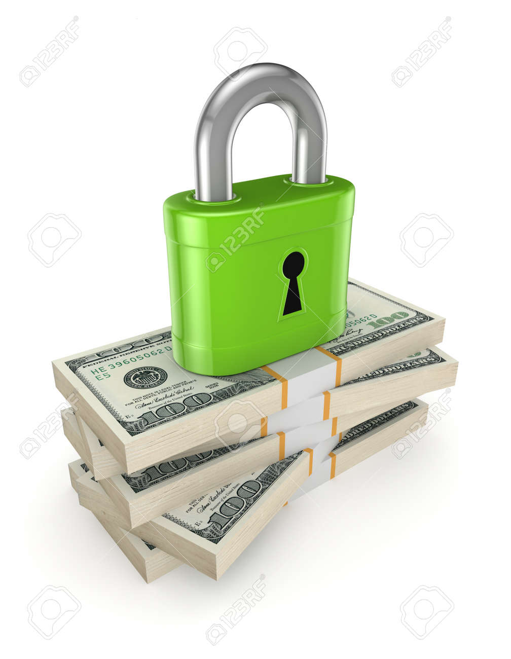 Green lock on a stack of dollars Stock Photo - 20224474