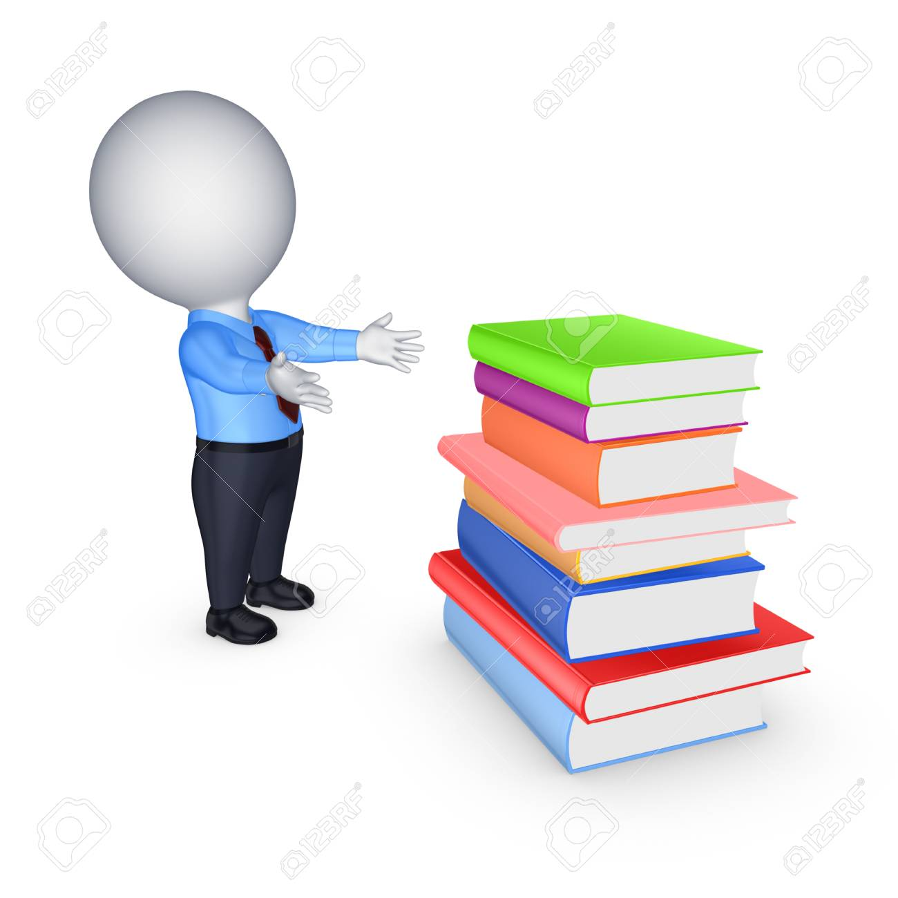 3d small person and big stack of colorful books.Isolated on white. Stock Photo - 22472464