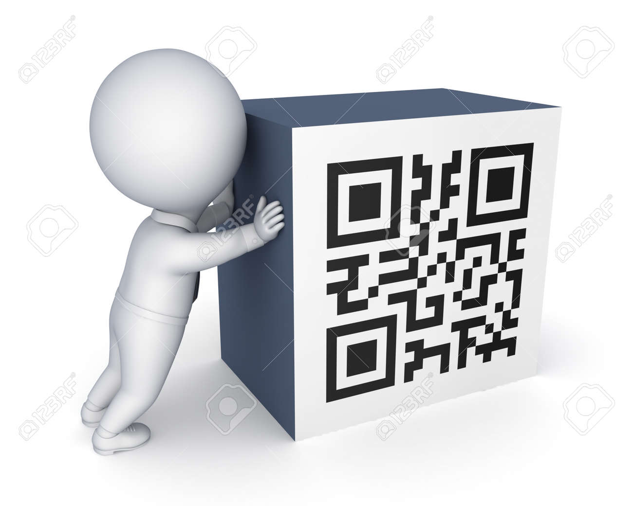 3d small person and symbol of QR code.Isolated on white.3d rendered. Stock Photo - 22472619