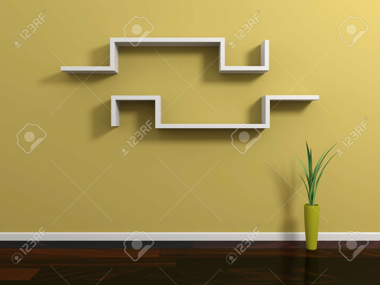 interior composition with modern shelf on yellow wall stock photo  - interior composition with modern shelf on yellow wall stock photo