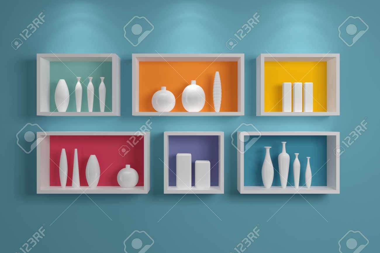 estantes modernos en una pared con cermica de colores foto de archivo