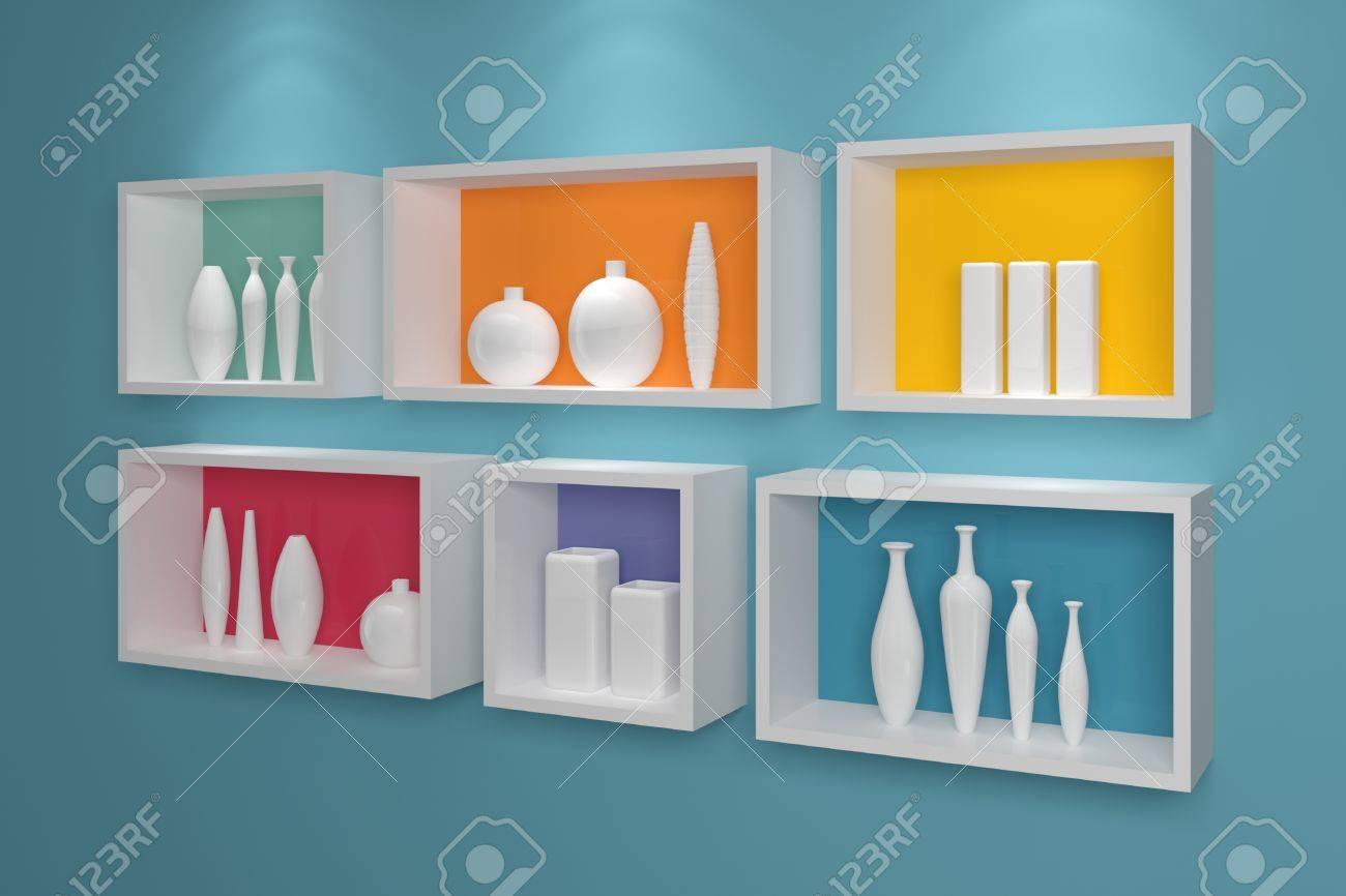 estantes modernos en una pared con cermica de colores foto de archivo 31269640 estantes de - Estantes De Pared