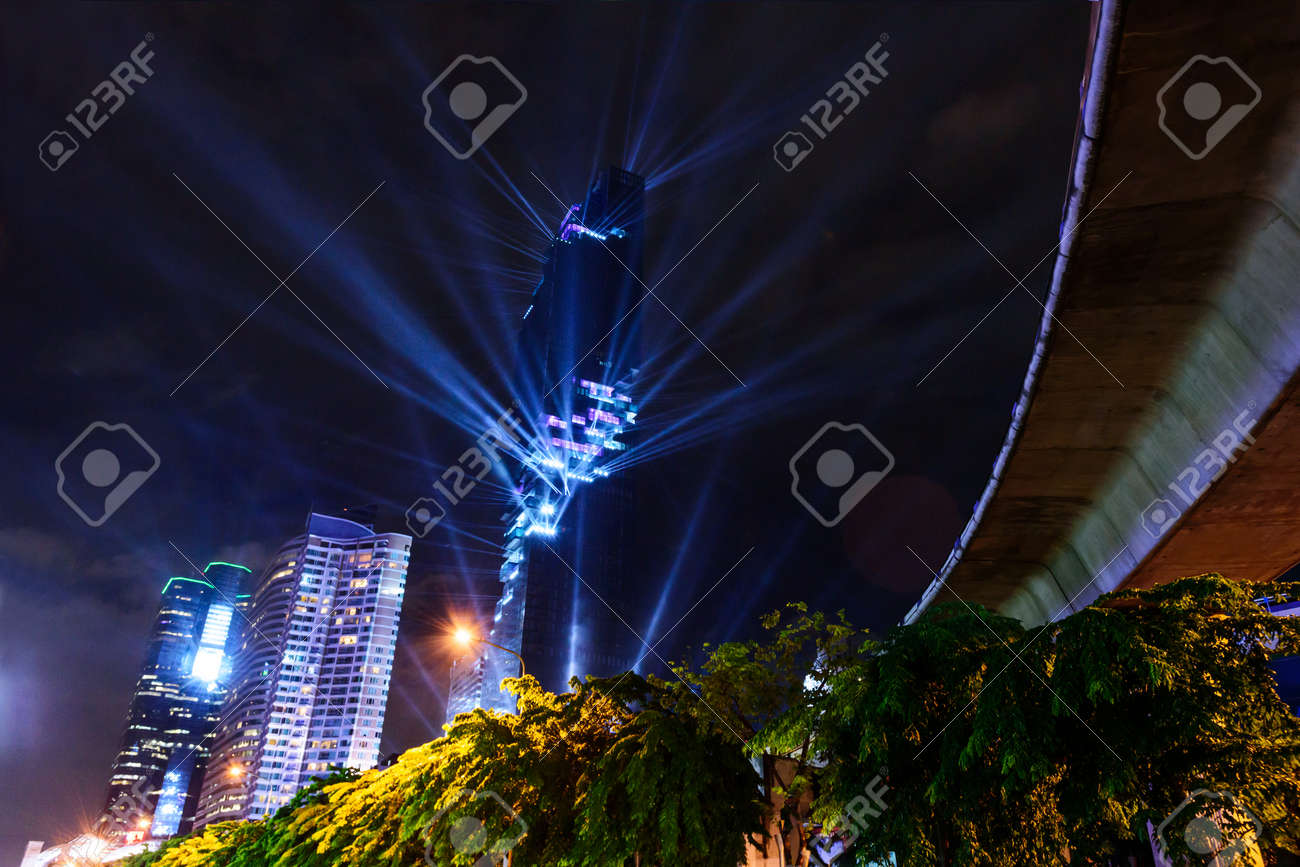 Lighting show in Grand opening mahanakhon tower in night time. New highest building landmark in & Lighting Show In Grand Opening Mahanakhon Tower In Night Time ...
