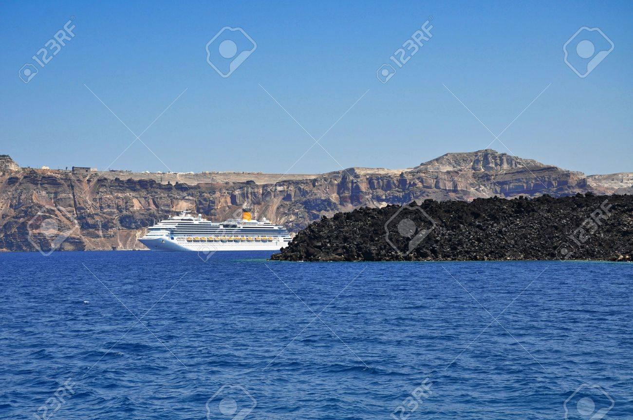 Cruiser In Deep Blue Santorini Volcano Caldera