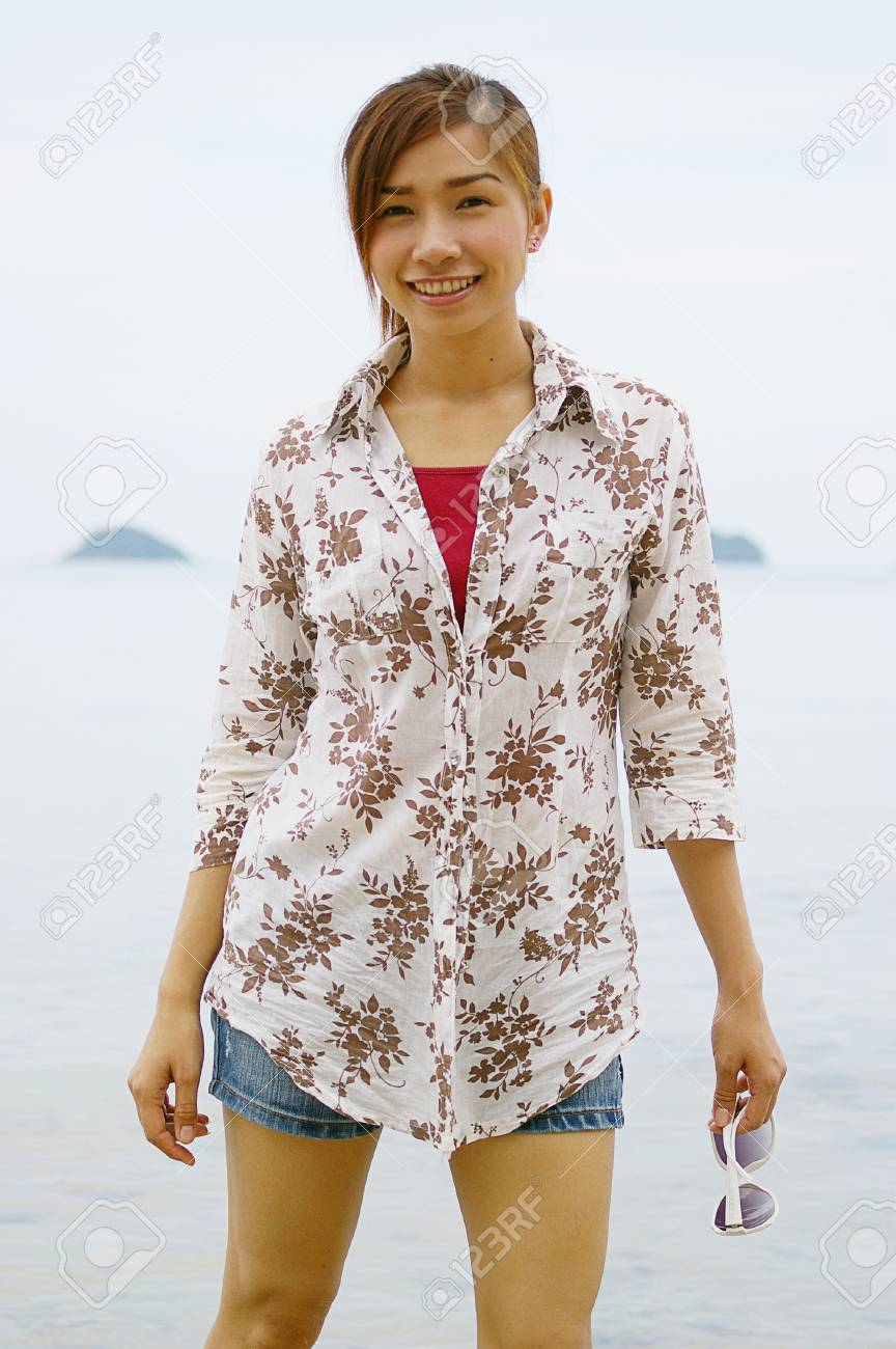happy young woman on the beach, koh Chang, Thailand Stock Photo - 16637521