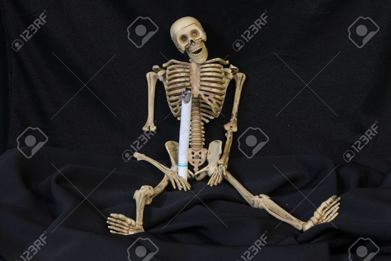 Three Human Skeletons With Cigarettes Stock Photo Picture And