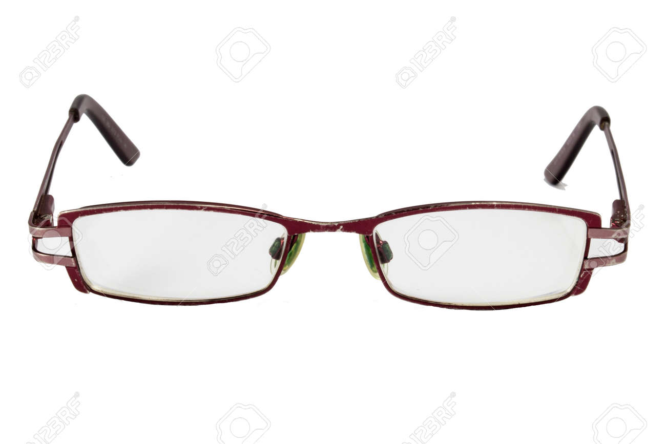 Old Glasses Isolated On White.Old Metal Frame, Stock Photo, Picture ...