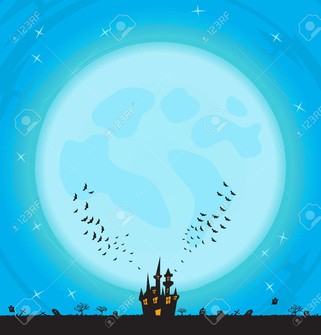 Colorful background with big moon and castle Stock Vector - 15534808