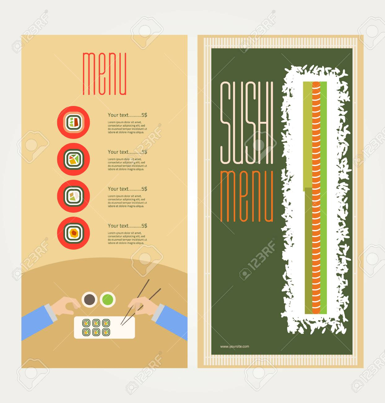 The abstract image of a menu with sushi - 33059460