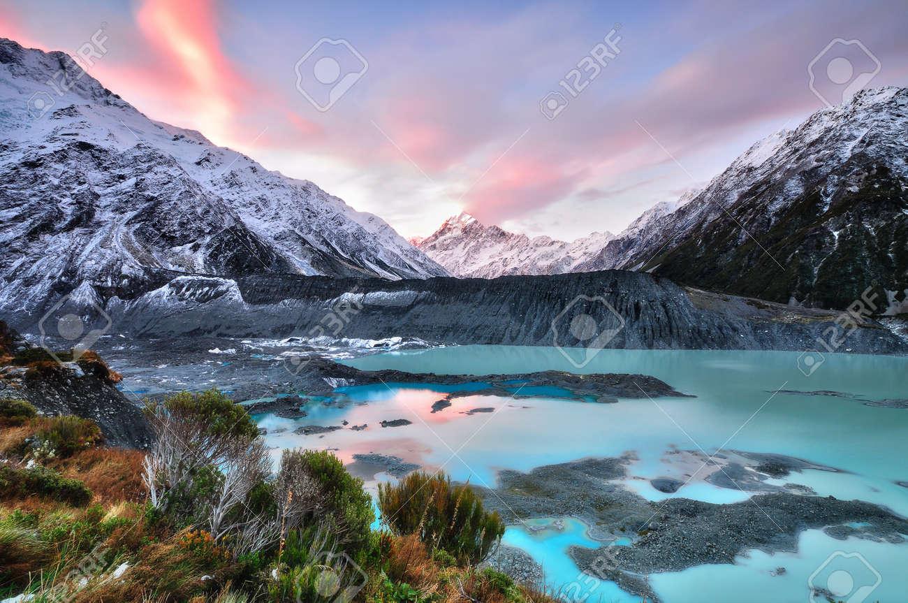 Sunset at Mueller Glacier Aoraki Mt Cook National Park, South - 21381365