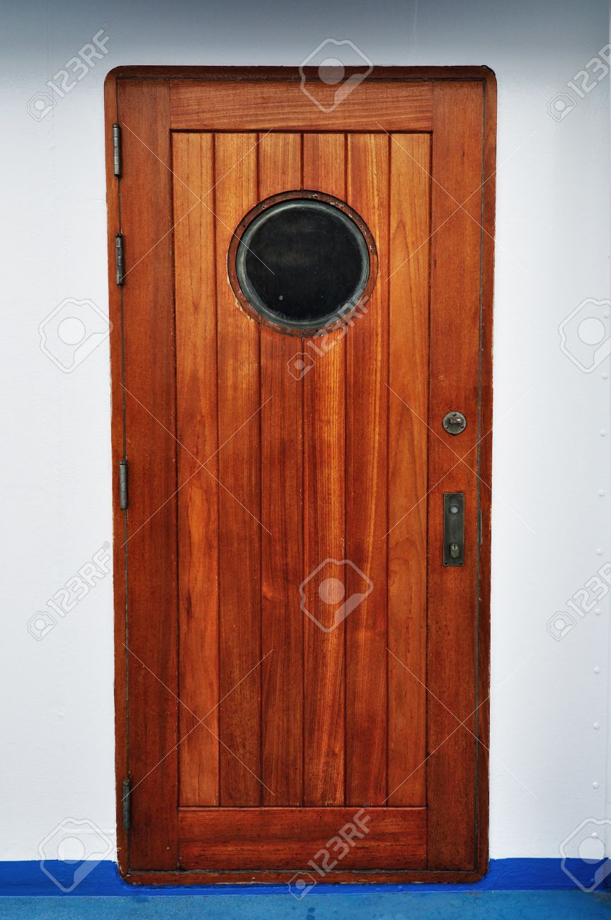 Stock Photo - Wooden Porthole door in a ship/cruise. & Wooden Porthole Door In A Ship/cruise. Stock Photo Picture And ...