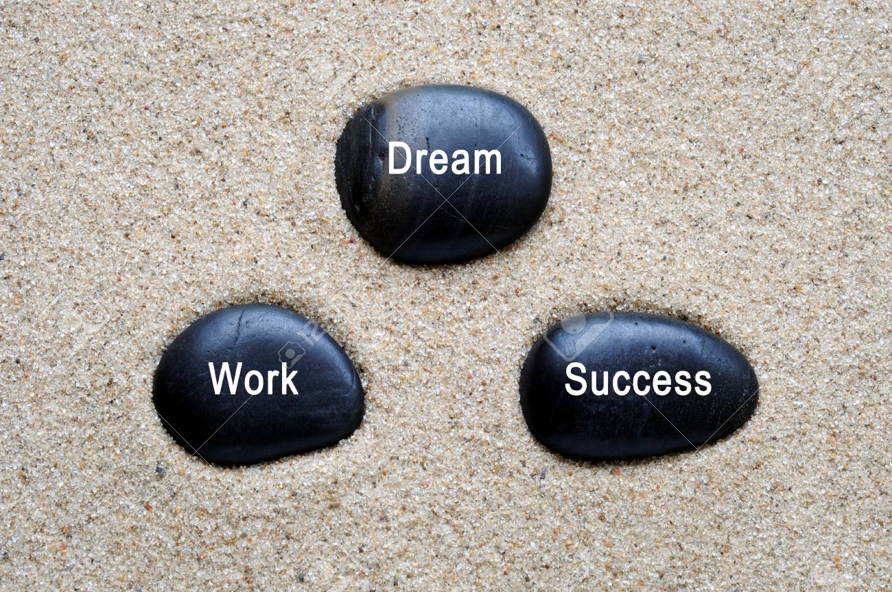 Dream Work Success Quotes On Zen Stones With Sand Background