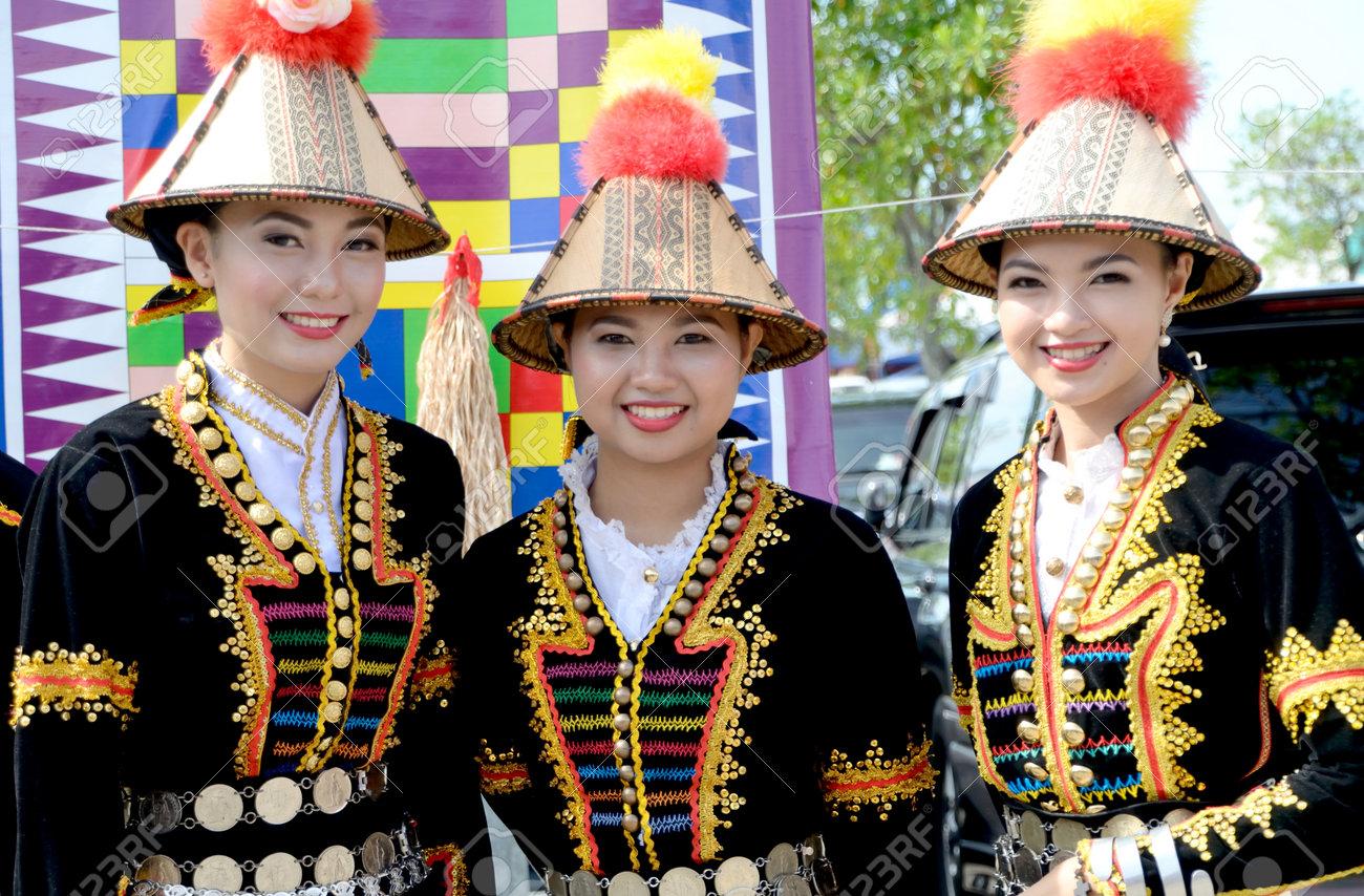 KOTA KINABALU, MALAYSIA - MAY 31, 2016: Malaysian women from ethnic Kadazan in traditional costume during Sabah Harvest festival celebration in Kota Kinabalu, Sabah Borneo, Malaysia. - 57851259