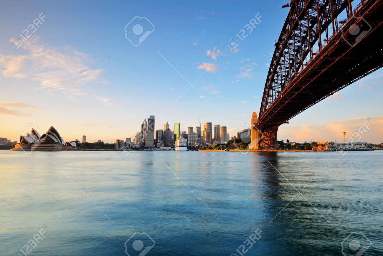 Sydney skyline during sunrise from Milsons point in Sydney, Australia. - 60060439
