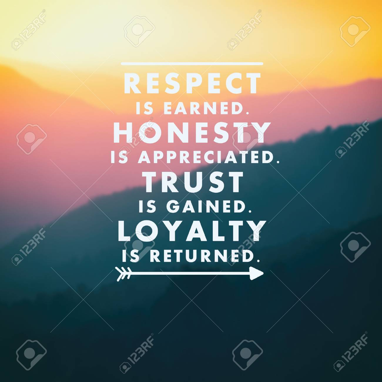 Inspirational Quotes Respect Is Earned Honesty Is Appreciated Stock Photo Picture And Royalty Free Image Image 84868893