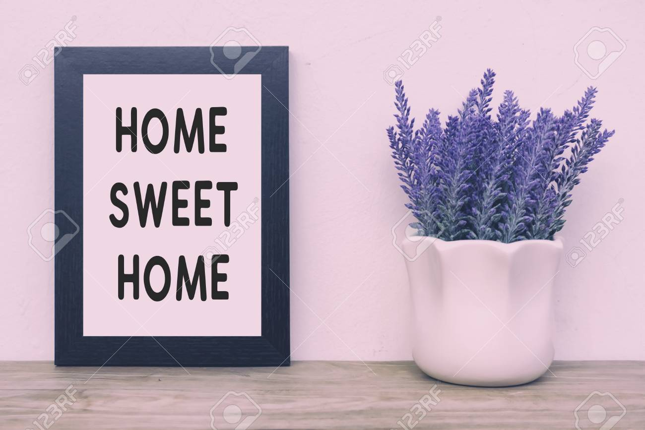 simple quotes home sweet home retro style faded tone and