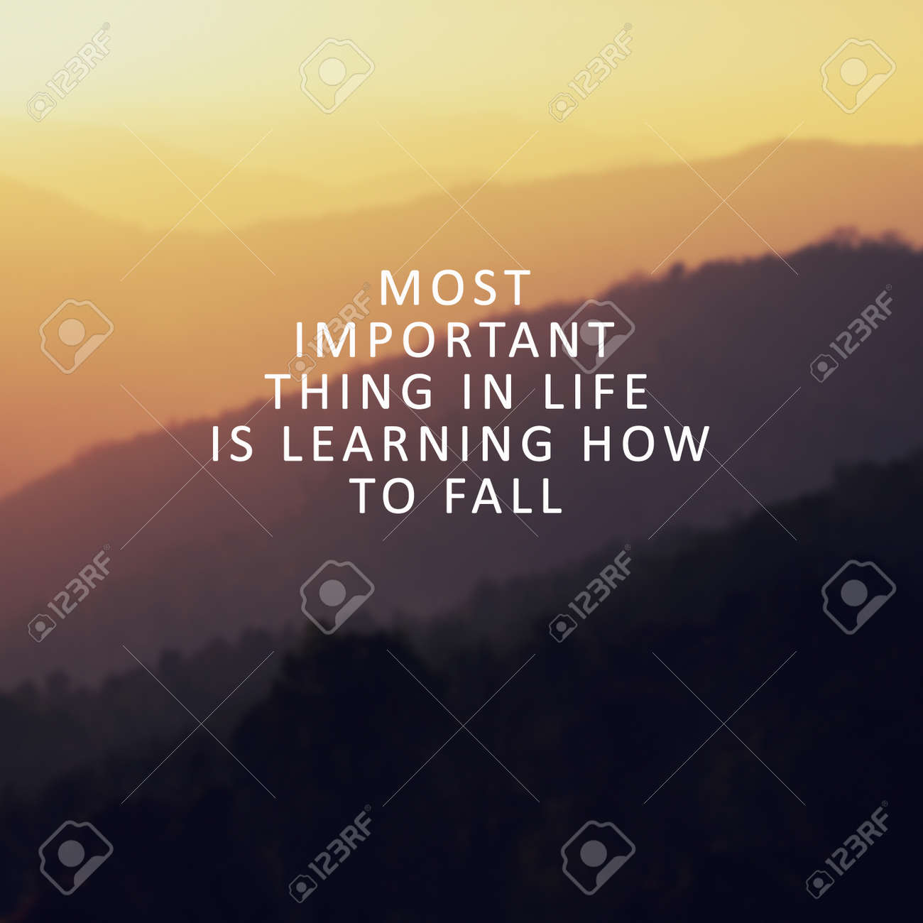 Inspirational quotes most important thing in life is learning how to fall stock photo