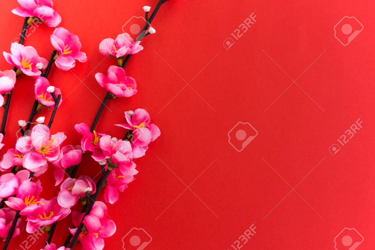 chinese new year background plum flowers on red background stock photo 91671473