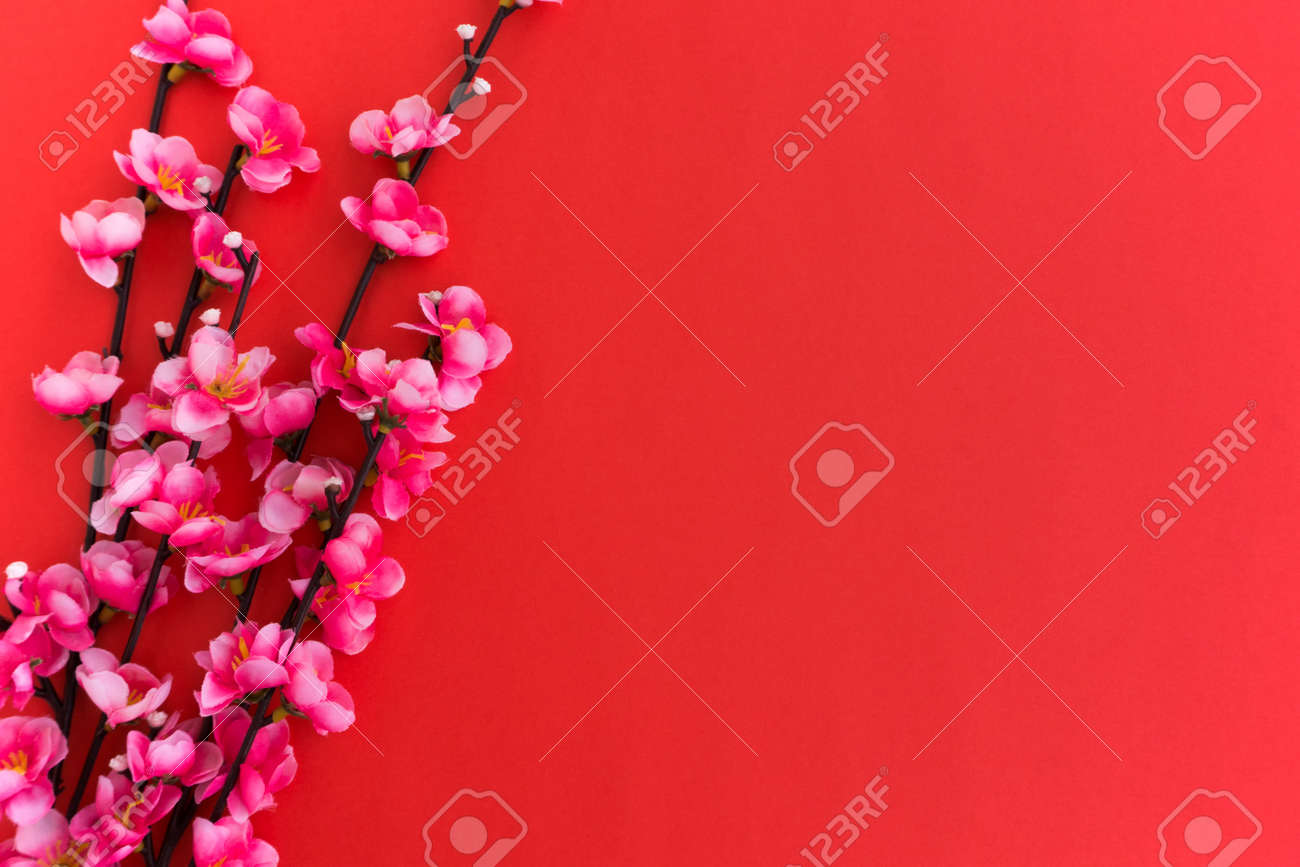 chinese new year background plum flowers on red background stock photo 91671474
