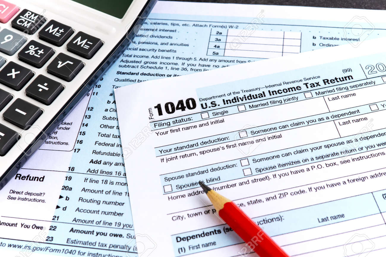 United States federal income tax return IRS 1040 documents and