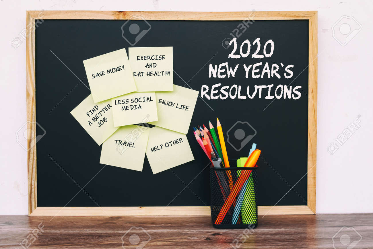 New Years Resolution 2020.2020 New Year Resolutions List On Sticky Notes With Stationery
