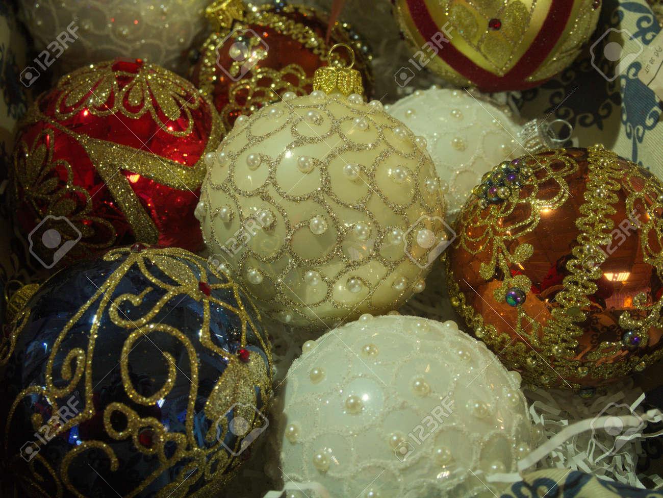 Multiple Pastel Vintage Painted Christmas Tree Bauble Decorations