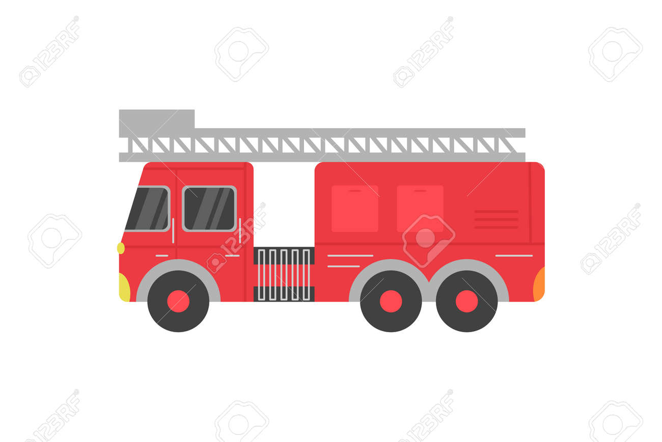 Fire rescue red truck with ladder cartoon icon, flat vector illustration isolated on white background. Fire department transport or vehicle, side view fire car. - 159293619