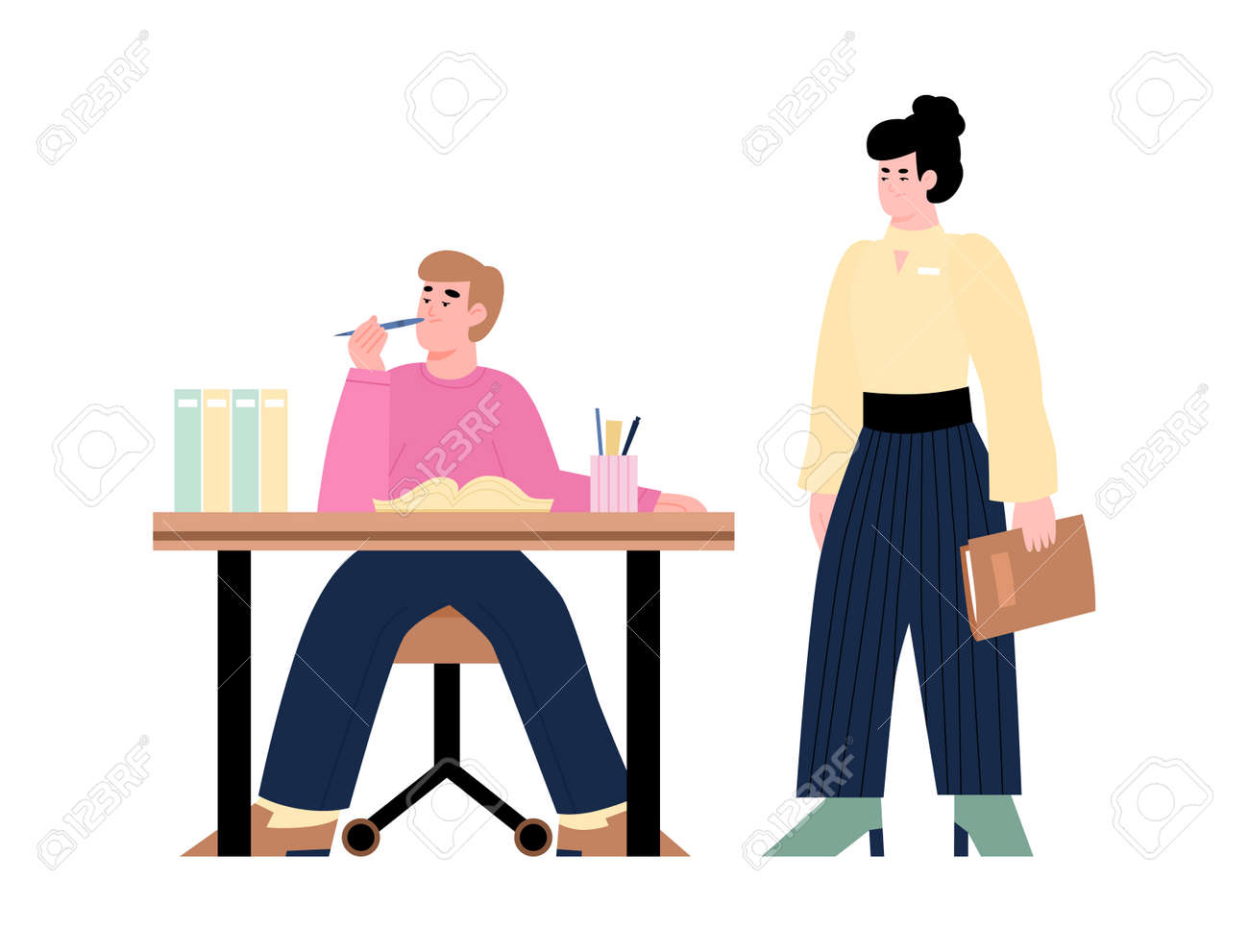 Woman office manager dissatisfied with the work of her subordinate, cartoon vector illustration isolated on white background. Inefficient worker bored at workplace. - 164811567