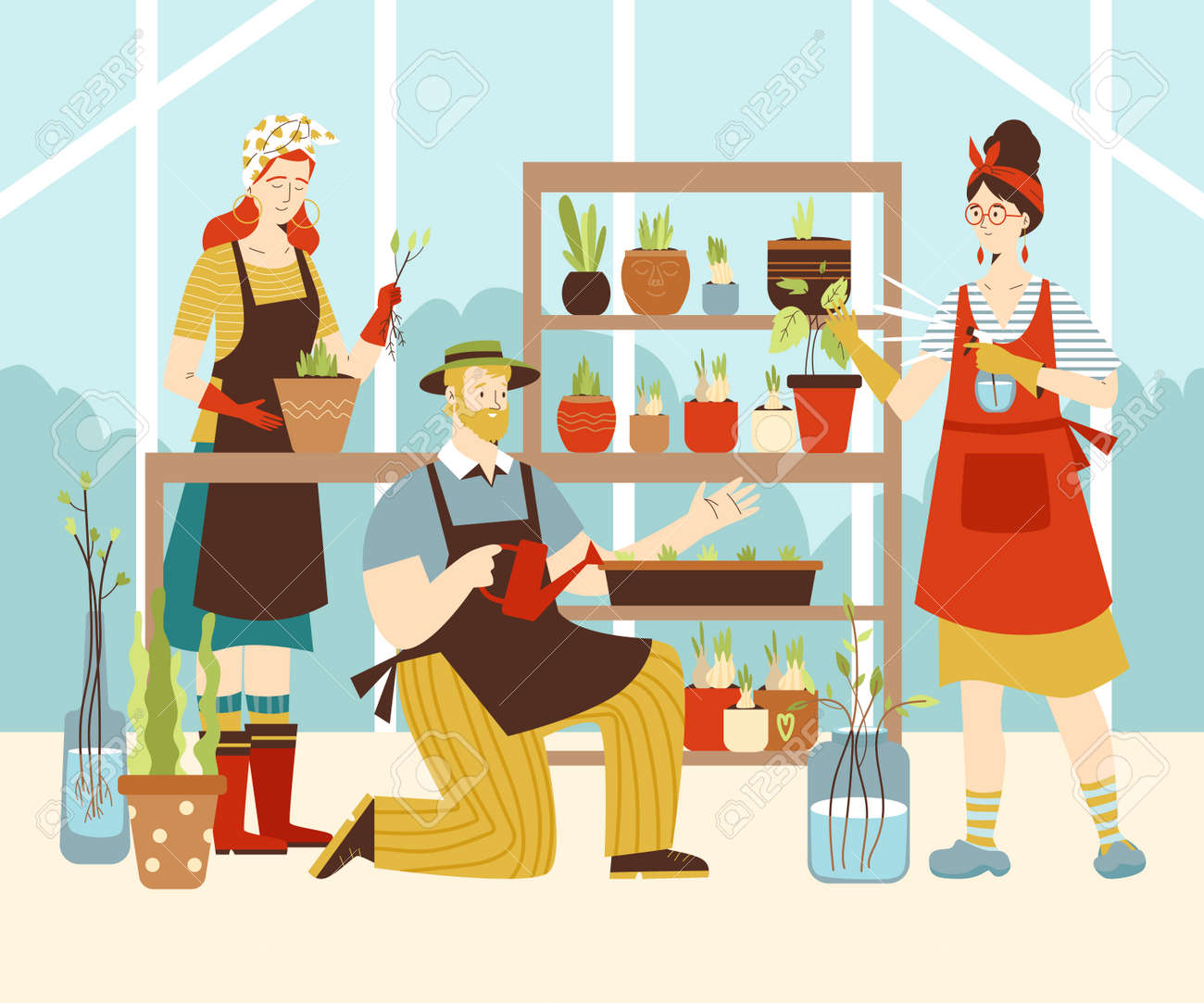 Greenhouse or flower shop with people grow plants, flat vector illustration. - 173415181