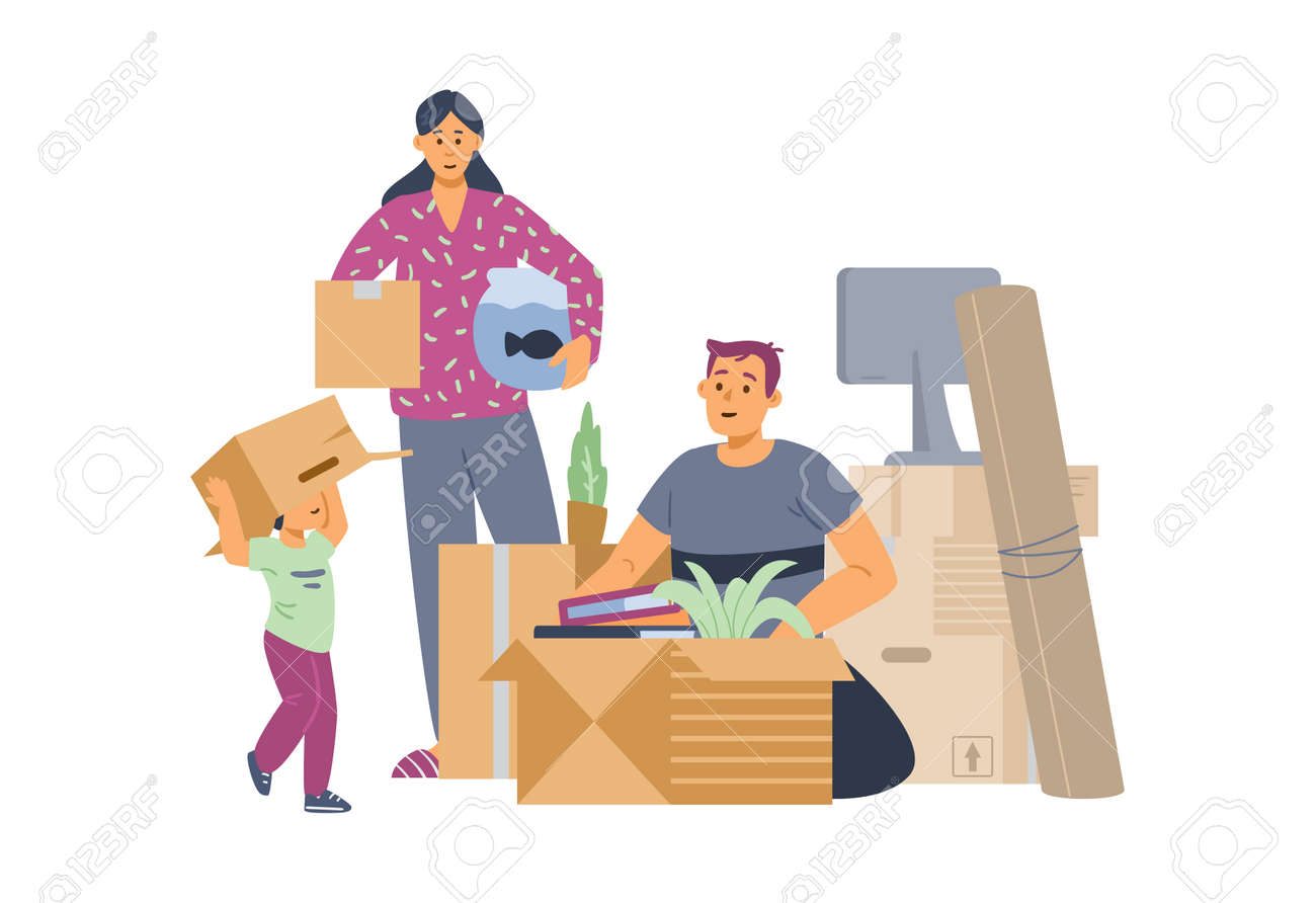 Family packing things for moving to new house, flat vector illustration isolated. - 173345782