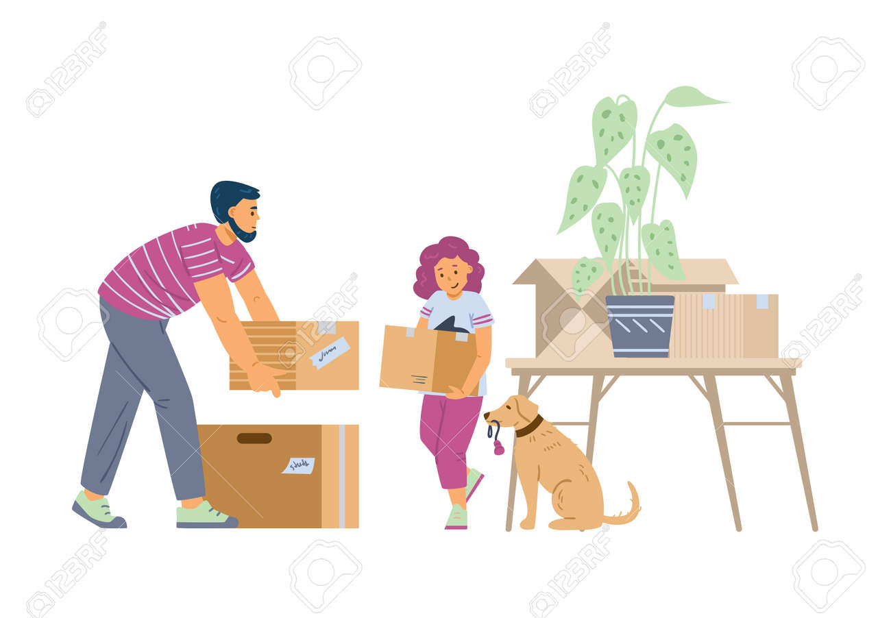 Happy family father and daughter with dog moving in new house. - 173345867