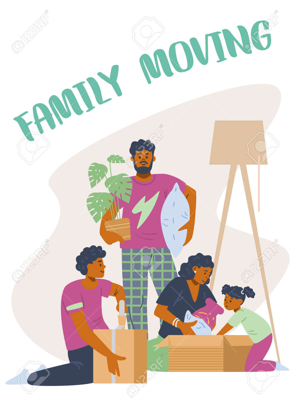 Family moving banner or poster, card template, flat vector illustration. - 173346238