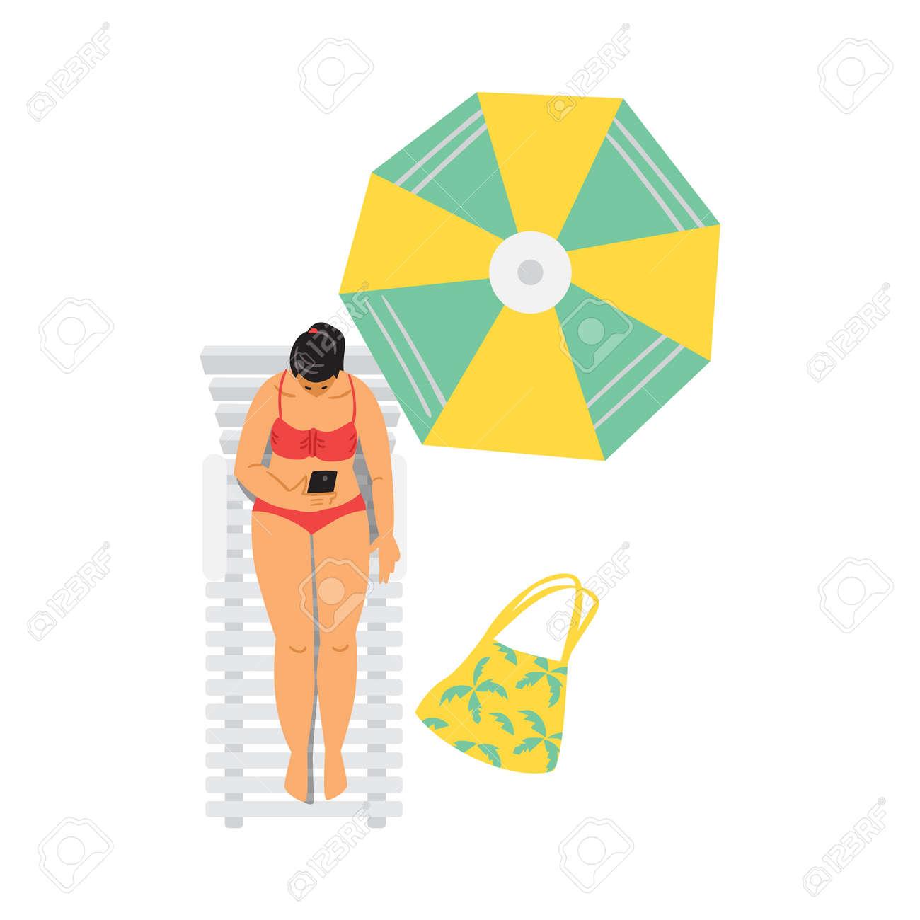 Young woman in bikini relax sunbathing near swimming pool or on beach. - 173345889
