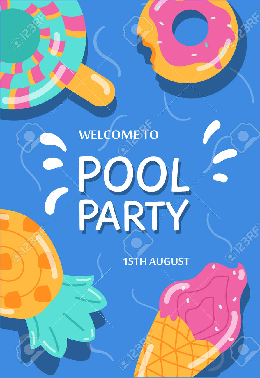 Summer pool party banner or invitation with lifebuoys, flat vector illustration. - 173346628